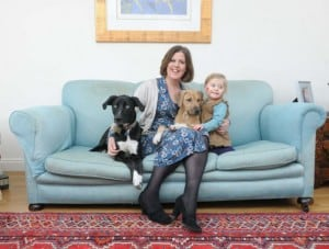 Shona Sibary with daughter Dolly and dogs Juno (black) and Albis (Puppy)